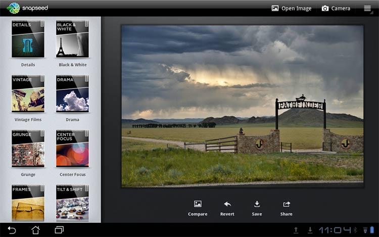 Snapseed for Android tablets with the Drama filter active.