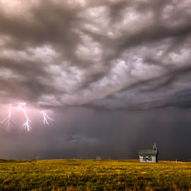 When Lightning Strikes   by Karen Celella - Landscapes Weather ( lightning, sky, storm, storm chasers, landscape,  )