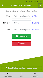 R1+R2 Zs Ze Calculator Screenshot