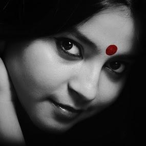 Indian Bride by Saheli Mukherjee - People Portraits of Women ( studio shot, black and white, woman, bride, portrait, closeup, eyes )