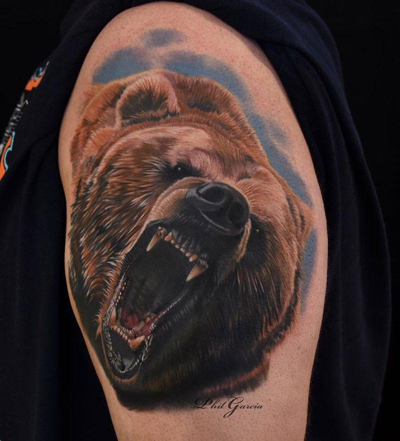 ลายสักหมีผู้ชาย
