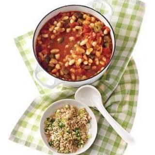 White Bean Chili With Jalapeño Bulgur.