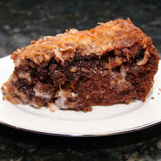 German Chocolate Upside Down Cake.
