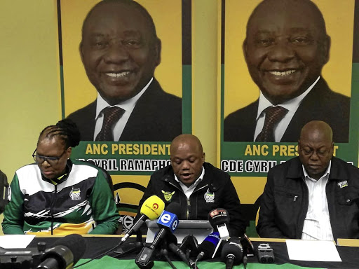 African National Congress top brass in KwaZulu-Natal Nocawe Mafu, Sihle Zikalala and Mike Mabuyakhulu.