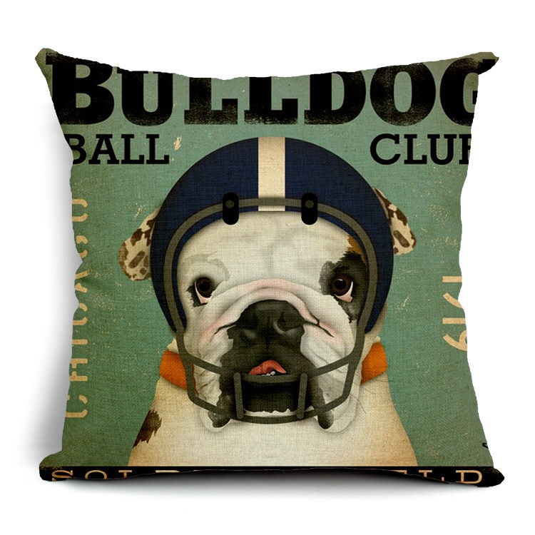 Bulldog Sofa Cushion Throw Pillow Case Cover