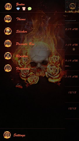 android GO SMS THE FLAME SKULL THEME Screenshot 4