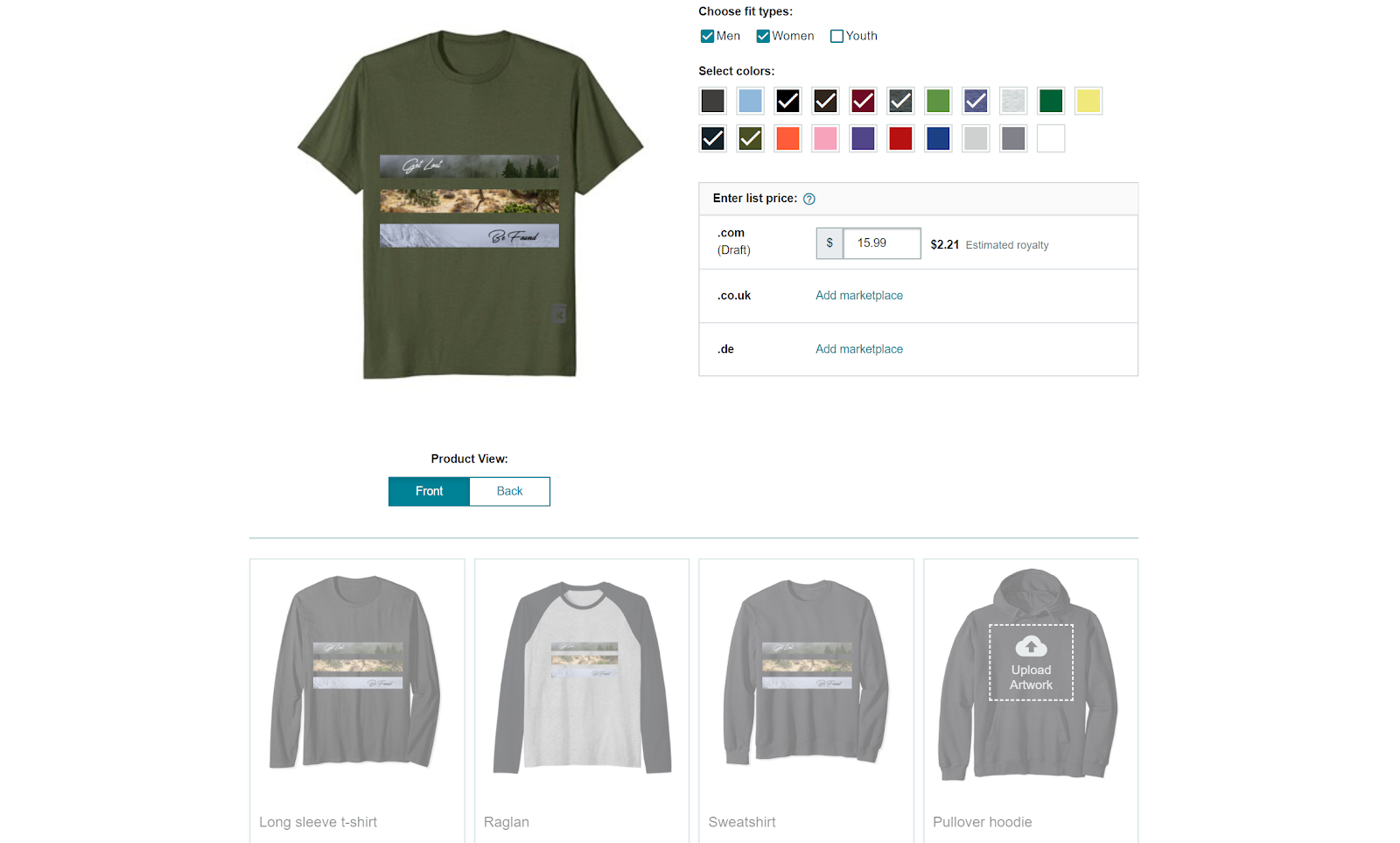 merch by amazon product colors and pricing
