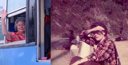 Photo: LSK on the bus in Burma in 2006 and LSK waiting on a bus in Nepal about 1978.