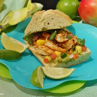 Chili-Lime Shrimp Sandwich with Mango Pico-de-Gallo and Avocado Mayonnaise (#FishFridayFoodies).