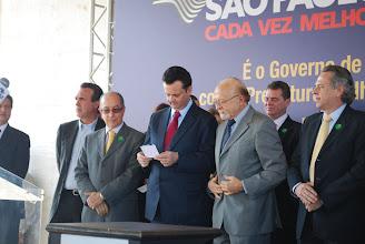 Photo: Secretário Marcos Cintra, prefeito Gilberto Kassab e governador Alberto Goldman durante evento de lançamento do convênio para implementação do Parque Tecnológico.