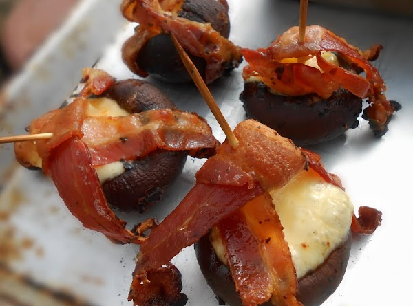Mushrooms Cheese Stuffed, Bacon Wrapped & Grilled Recipe