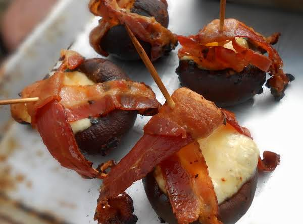 Mushrooms Cheese Stuffed, Bacon Wrapped & Grilled