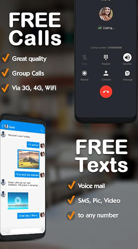 Free phone calls, free texting SMS on free number 4.6.2 screenshots 1