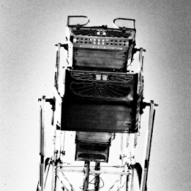 ferris wheel by Tim Hauser - Black & White Objects & Still Life ( tim hauser photography, fine art photography, county fair, black and white ptography, ferris wheel )