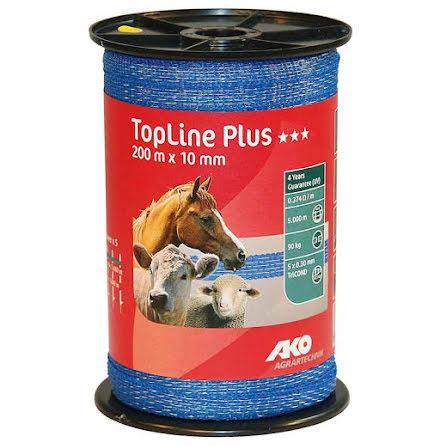 Elband 10 mm Ako TopLine Plus Blå 200 Meter. 0,374 Ohm/m