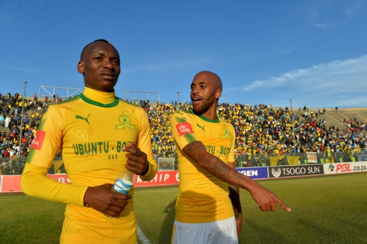 Mamelodi Sundowns players Khama Billiat and Oupa Manyisa during the Absa Premiership match between SuperSport United and Mamelodi Sundowns at Lucas Moripe Stadium on August 19, 2017 in Pretoria.