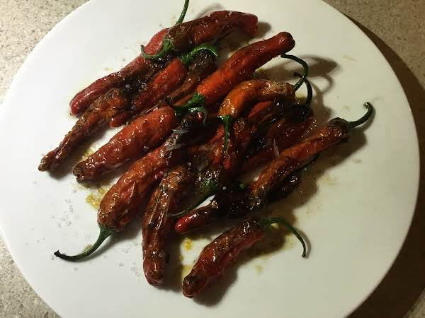 Blistered Red Shishito Peppers