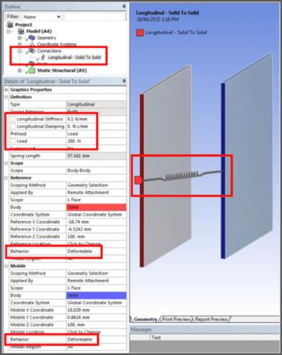 ANSYS - Предварительно нагруженная пружина в Workbench Mechanical