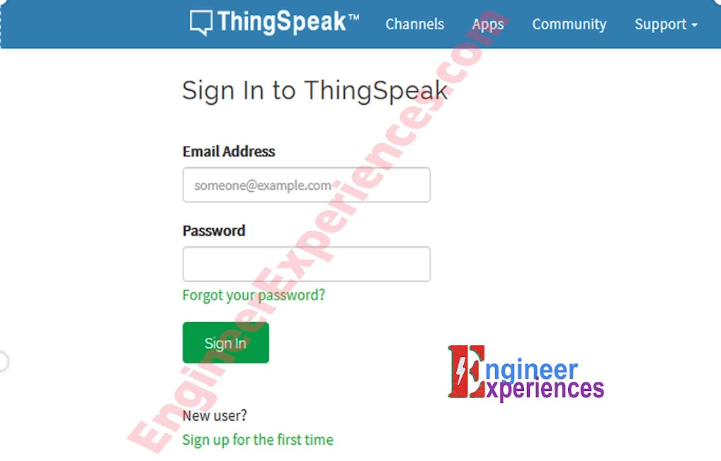 Sign in Form of ThingSpeak