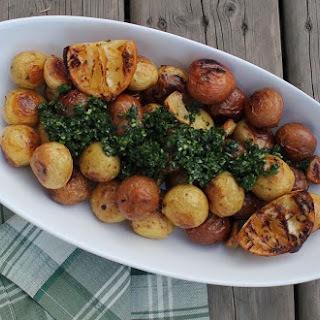 Lemon Roasted Potatoes with Parsley Pistou.