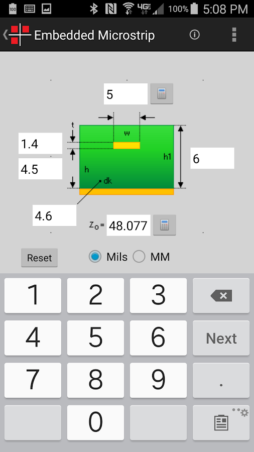 Intercept Impedance Calculator- screenshot