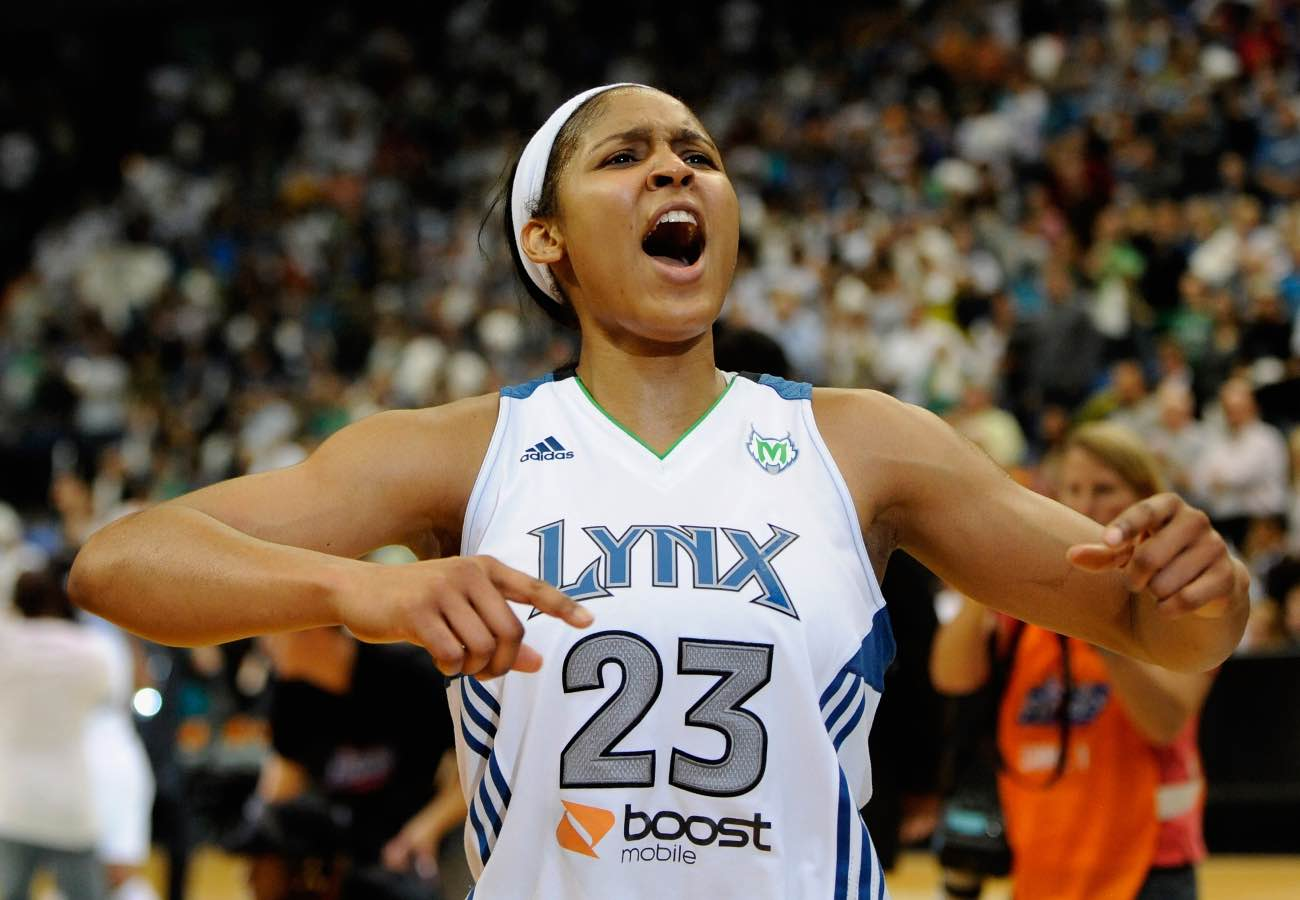MINNEAPOLIS, MN - OCTOBER 2: Maya Moore #23 of the Minnesota Lynx celebrates a win against the Atlanta Dream after Game One of the 2011 WNBA Finals on October 2, 2011 at Target Center in Minneapolis, Minnesota. The Lynx defeated the Dream 88-74. (Photo by Hannah Foslien/Getty Images)