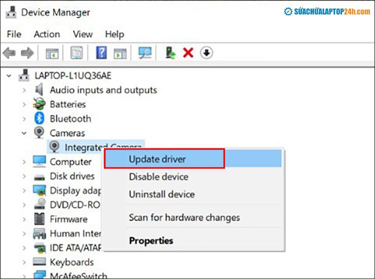 Click chuột phải vào từng ổ cứng và chọn Driver