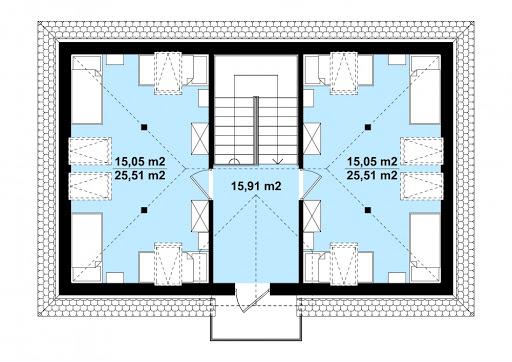 G344 - Budynek rekreacji indywidualnej - Rzut poddasza