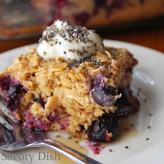 Blueberries and Creme Baked Oatmeal