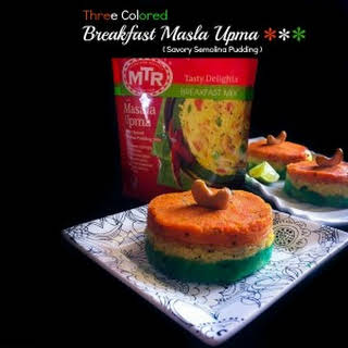 Three Colored Breakfast Masala Upma (Savory Semolina Pudding).