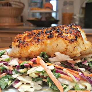 Pan Seared Cod with Kale Cabbage Slaw.
