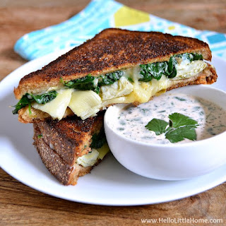Spinach and Artichoke Grilled Cheese with Spicy Ranch Dipping Sauce.