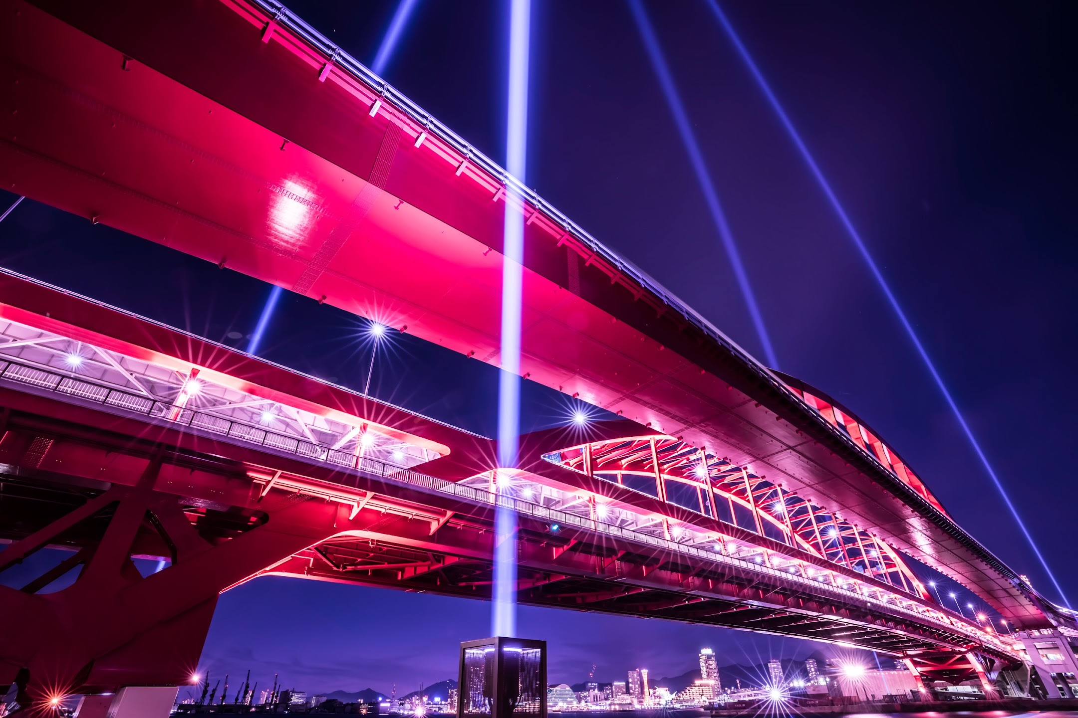 神戸大橋 上空照射 ライトアップ3