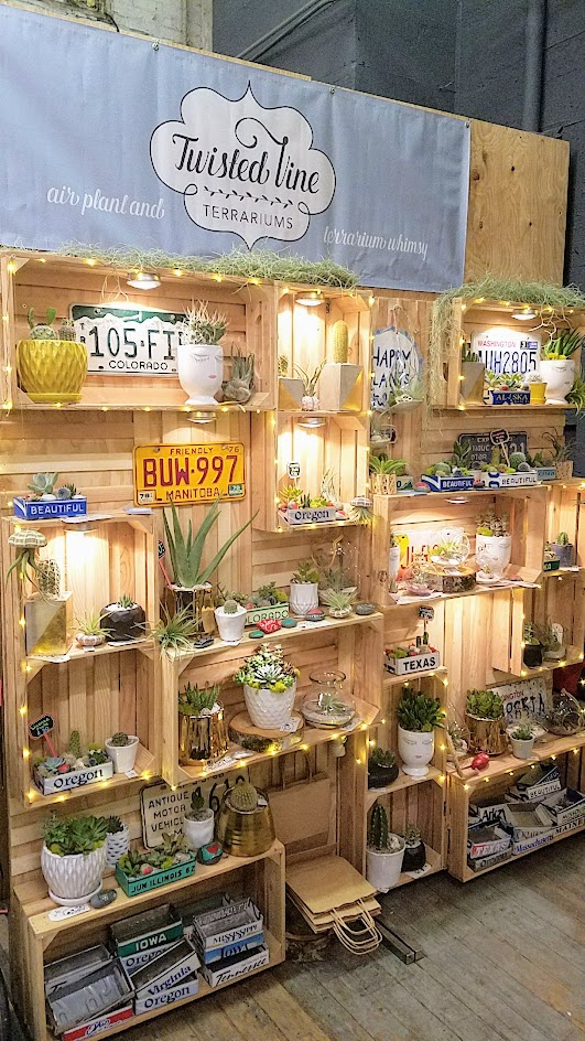 Twisted Vine Terraniums booth as part of the vibe of the Portland Night Market, held every few months in the Central Industrial District in a warehouse, during the November 2016 market