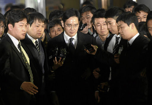 Samsung Group chief Lee Jae-Yong leaves the Seoul Central District Court in Seoul, South Korea. Picture: REUTERS