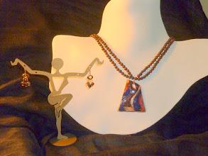 Photo: <BEREHYNYA> {Great Goddess Protectress} unique one-of-a-kind statement jewellery by Luba Bilash ART & ADORNMENT  MODA – МОДА - copper enamel pendant, bracciated jasper, rose gold vermeil SOLD/ПРОДАНИЙ