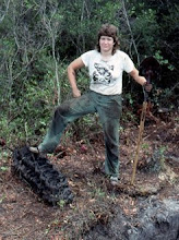 Photo: Kimbrough in the Apalachicola National Forest (1990) excavating a WWII plane crash (historic archaeology!).