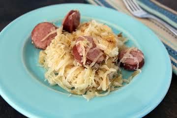 Kielbasa and fried buttered sauerkraut