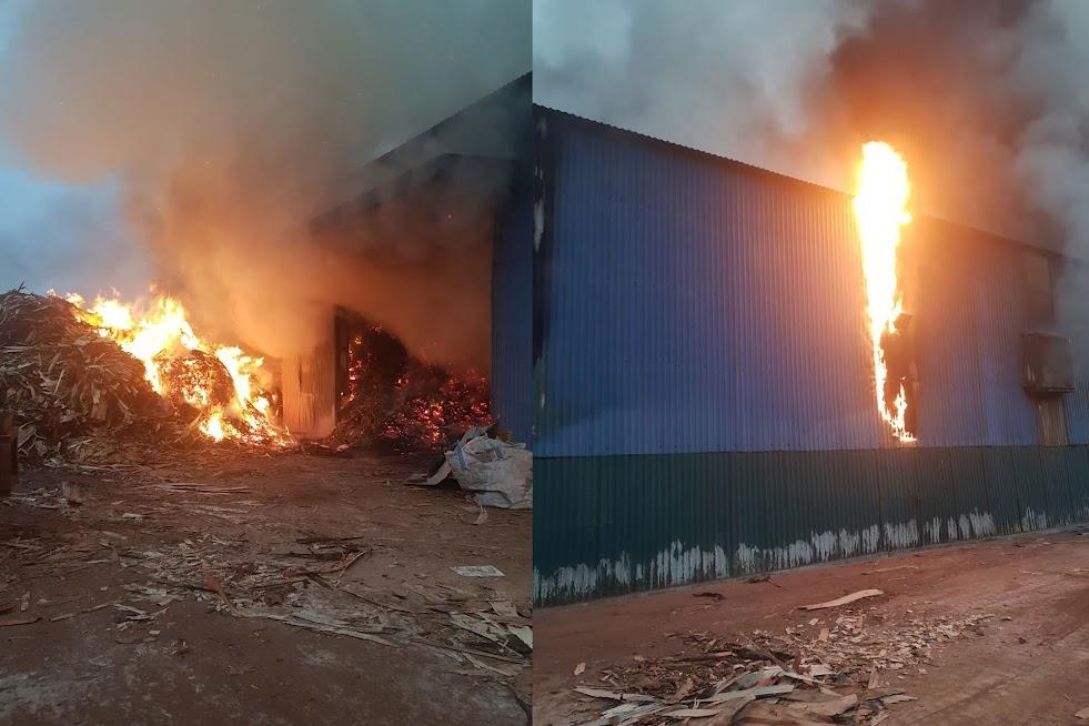 Đám cháy xảy ra tại nhà xưởng ép than công nghiệp