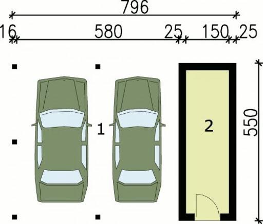 G48 wiata garażowa - Rzut garażu