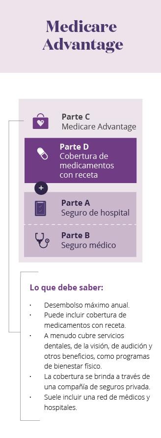 Infografía móvil de las partes de Medicare MA