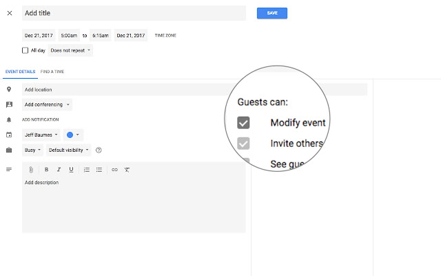 Let guests modify Google calendar event