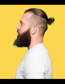 man bun and undercut with beard