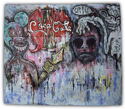 Photo: Drink or Die. 29 x 25 inches. Acrylics, ink, and pencils on a paper map. Artists: Justin Aerni and Marisol McKee. Date Created: August 2012. Signed by both artists.