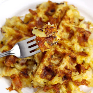 Ham, Egg, and Cheese Hash Brown Waffles.