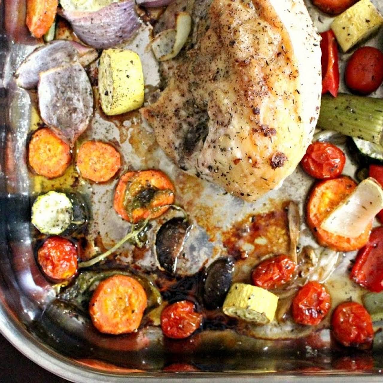 Garlic Herb Roast Chicken with Vegetables