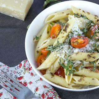 Easy Penne Pasta with Roasted Garlic Tapenade.