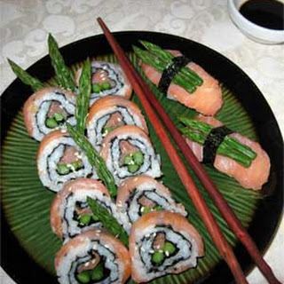 California Rolls with Salmon and Asparagus