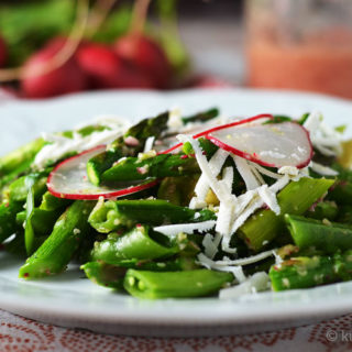 Snap Pea, Asparagus, and Avocado Salad with Radish Vinaigrette #WeekdaySupper