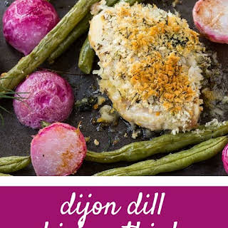 Crispy Chicken Thighs with Dijon and Dill {sheet pan dinner}.